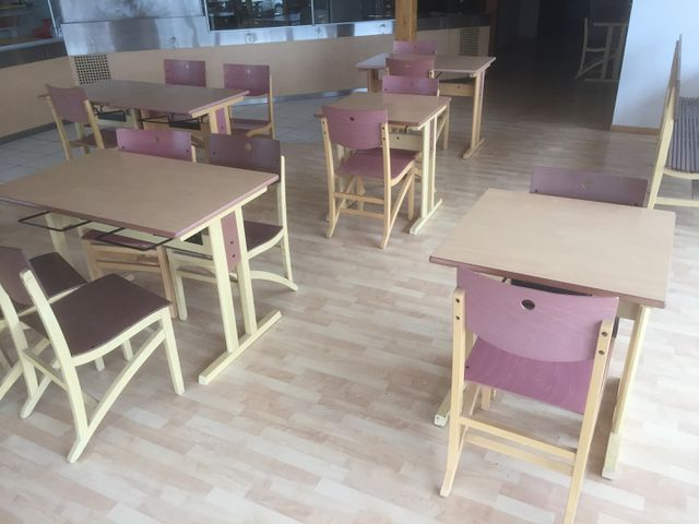 LOT DE MOBILIER DE SALLE COMPRENANT 14 TABLES, 30 CHAISES, 2 BANC...