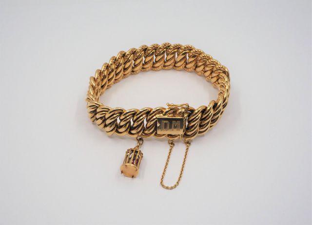 Bracelet maille américaine en or jaune Pds 52 grs