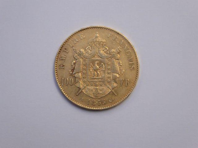 Pièce de 100 francs or jaune 1855 Poids : 32 grs