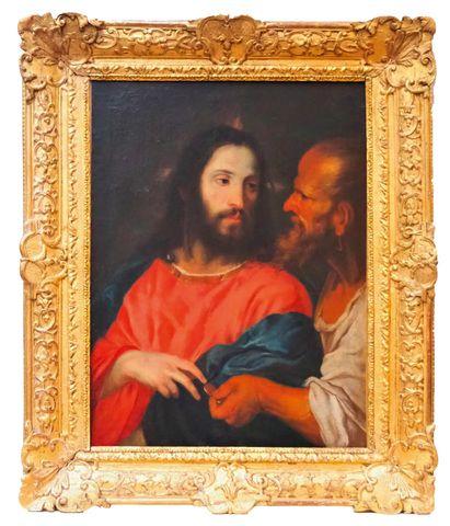 Ecole FRANCAISE XVIIIème siècle  Le Christ au denier  Huile sur t...