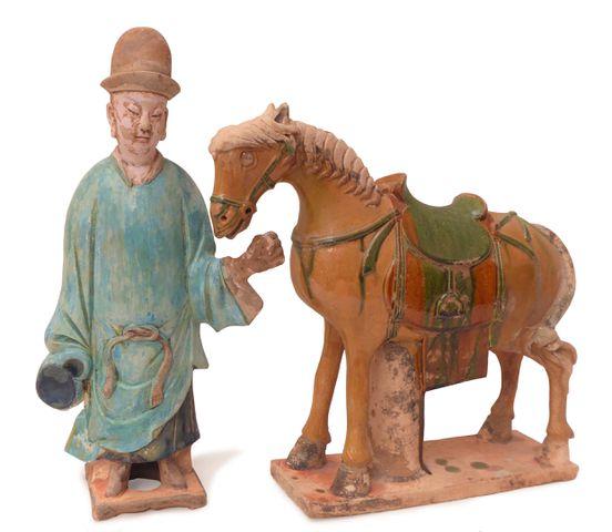 CHINE Époque MING (1368-1644) Cheval et son guide en terre cuite ...