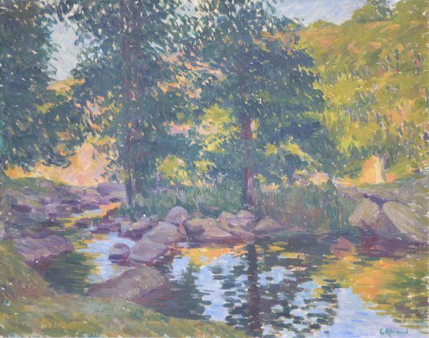 Eugène ALLUAUD (1866-1947) Paysage creusois Huile sur toile signé...
