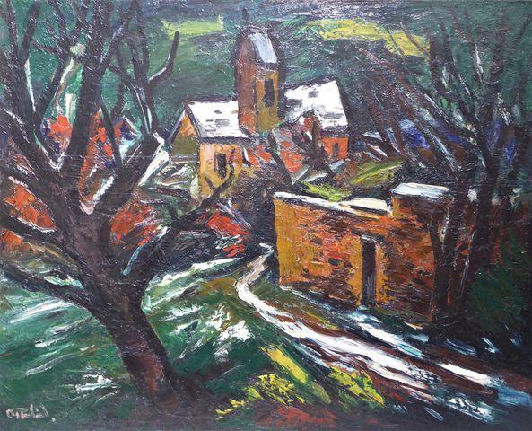 Anders OSTERLIND (1887-1960) Maison dans les bois Huile sur toile...