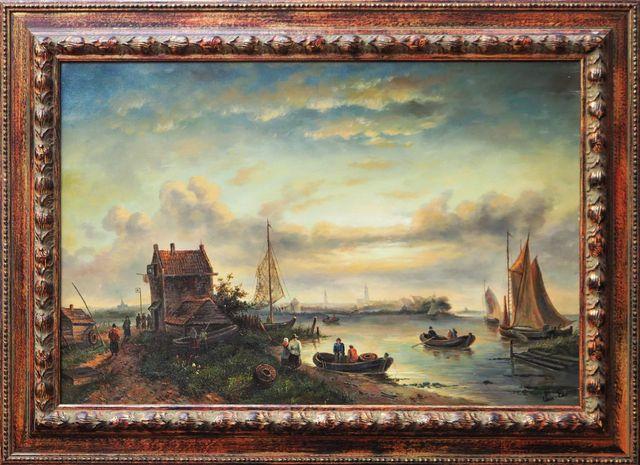VAN EES (1887-1922) Bord de rivière animé Huile sur toile signée ...