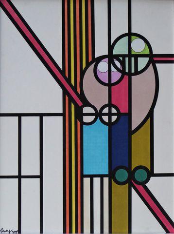 MAXIME (Maxime DUFOUR dit) (1928 - 2016) Composition Acrylique su...
