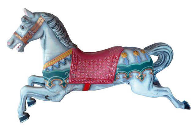 Cheval de manège en bois sculpté polychrome  H.108 cm L.180 cm P....