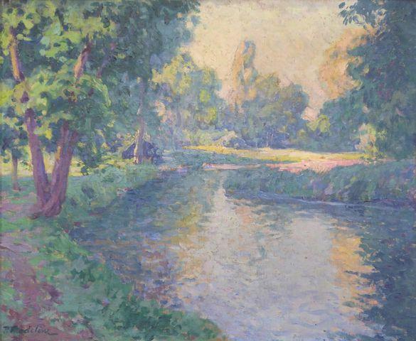 Paul MADELINE (1863-1920) Paysage de la Creuse Huile sur toile si...