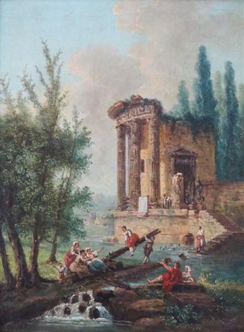 Ecole FRANCAISE à la manière d'Hubert ROBERT Ruines antiques anim...