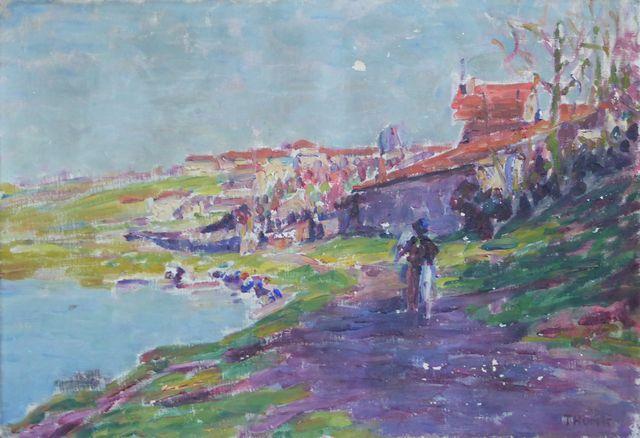Paul THOMAS (1868-1910) Les Lavandières Huile sur toile signée en...