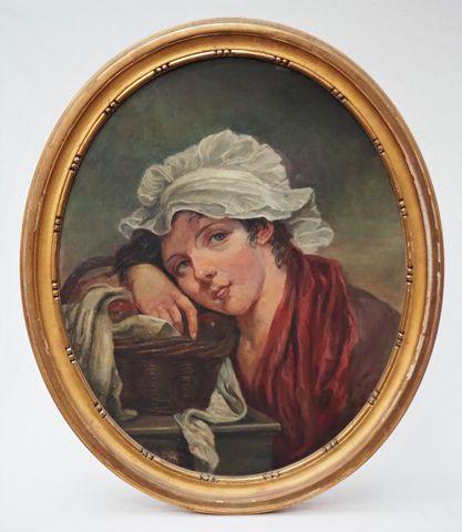 S. LEBRUN Portraits Paire d'huiles sur toile signées 55 x 46 cm