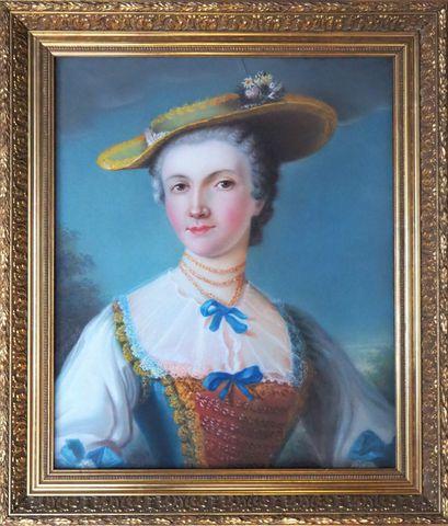 Ecole FRANCAISE dans le goût du XVIIIème siècle Portrait de femme...