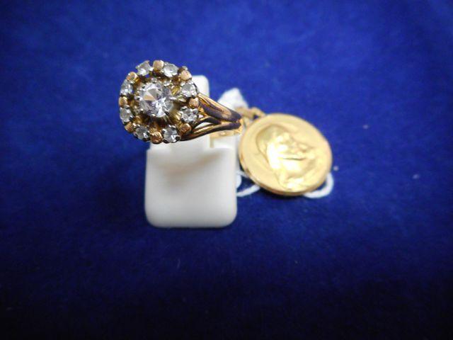 Bague or et pierre blanche Tdd 51 avec médaille or 6,2g.
