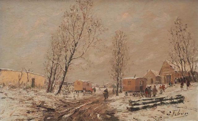 Edouard FEBVRE (1885-1967) Campement de Romanichels en hiver Huil...
