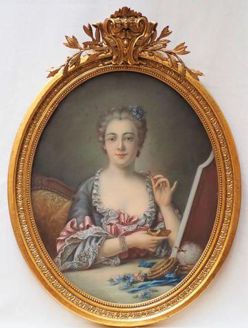 Ecole FRANCAISE dans le goût du XVIIIème siècle Portrait d'une da...