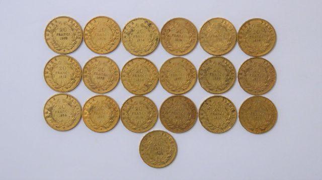 Lot de 7 pièces 20 Francs or