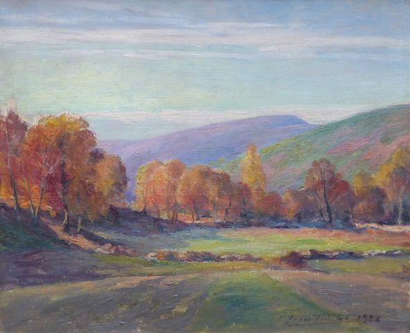 Jean TEILLIET (1870-1931)  Paysage du Limousin 1926 Huile sur toi...