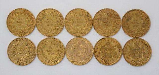 Lot 10 pièces 20 Francs or