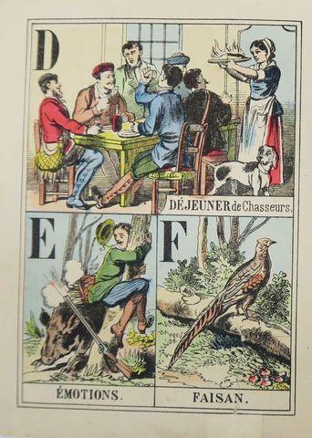 Epinal (Imagerie d'). Alphabet de la Chasse. Epinal, Pellerin, sd...