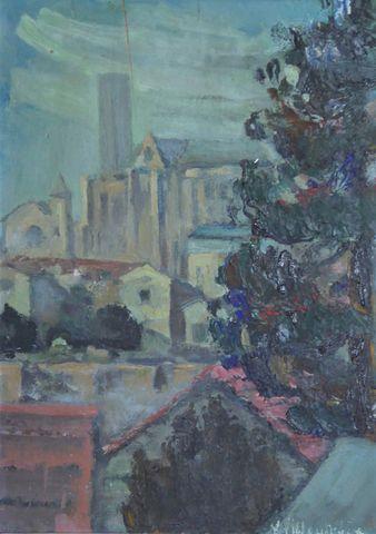 Math. VILLOUTREIX (XXe) Cathédrale de Limoges Huile sur carton SB...