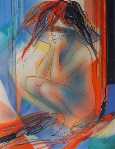 Jean-Baptiste VALADIÉ (1933) Femme accroupie Lithographie couleur...