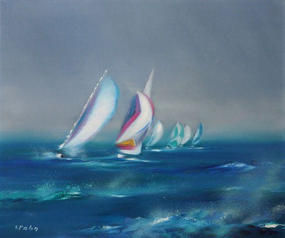 Victor SPAHN (1949) Régates à Saint-Tropez Huile sur toile signée...