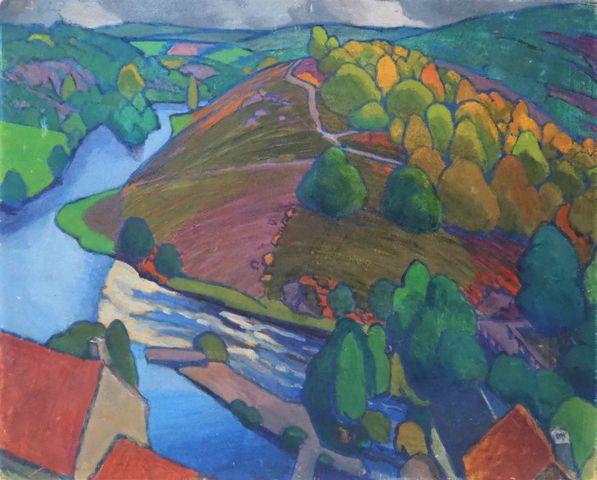 Léon JOUHAUD (1874-1950) Paysage du Limousin Huile sur carton 49 ...