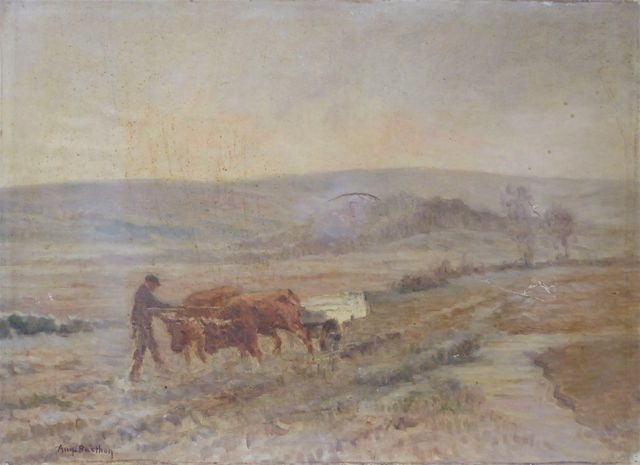 Auguste BARTHON (1878-1938) Scène de labour Huile sur toile signé...