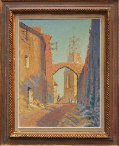 Louis AZÉMA (1876-1963) L'entrée du vieux Cannet des Maures au so...