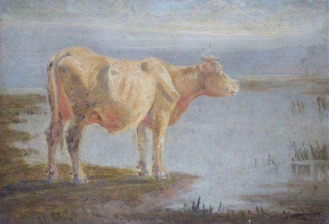 Sylvain Paul Frédéric GRATEYROLLE (1849- ?)  Vache au bord de l'e...