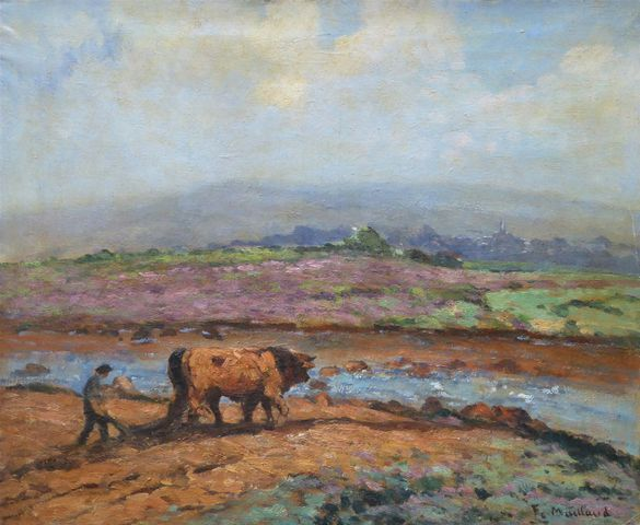 Fernand MAILLAUD (1863-1948) Labour Limousin Huile sur toile sign...
