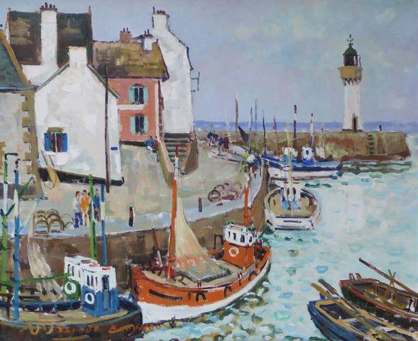 Jacques BOUYSSOU (1926-1997) Port-Haliguen Huile sur toile signée...
