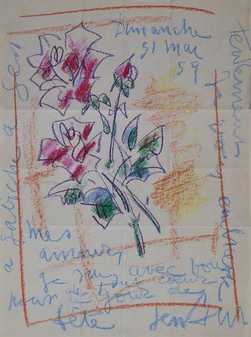 Gen PAUL (1895-1975) Bouquet de fleurs Pastel gras sur papier, si...