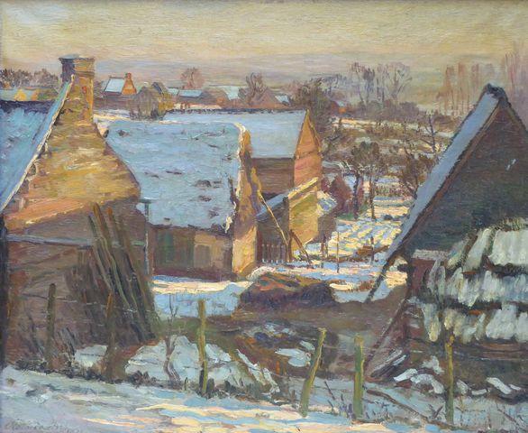 Ecole Moderne Début XXème siècle Paysage de neige Huile sur toile...