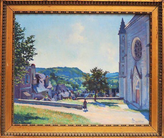 P.BOURDIER (XIXe-XXe) Place de l'église à Terrasson Huile sur toi...