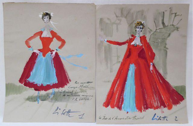 François GANEAU (1912-1983) Costumes de Lisette Suite de deux gou...