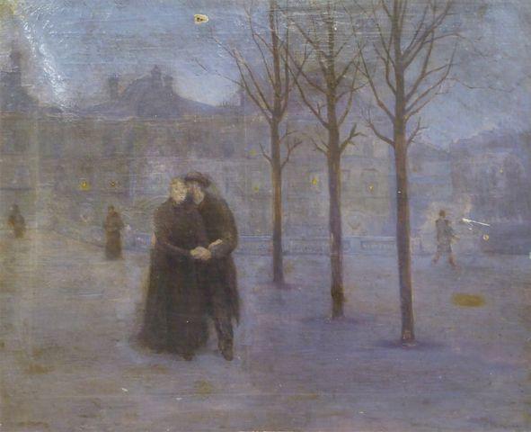 Charles PERRANDEAU (1865-1903) Couple au jardin des Tuileries Hui...