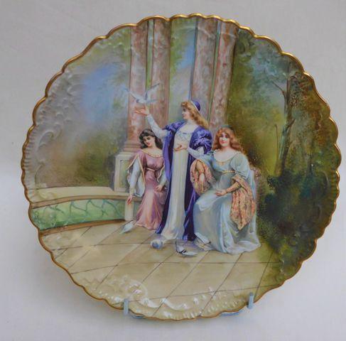 Jean POUYAT Limoges  Assiettes en porcelaine à décor de damoisell...