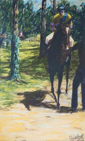 Ecole MODERNE du XXème siècle Le jockey Pastel sur papier signé e...