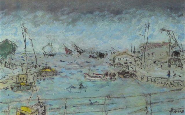Jean FUSARO (né en 1925) Port du Nord Pastel sur carton signé en ...