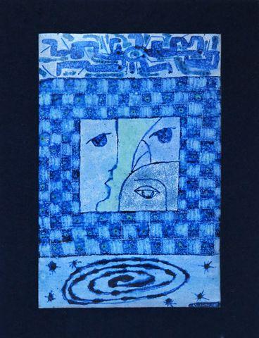 Bernadette LEPINOIS (1939-2017) Plaque émaillée en camaïeu bleu à...