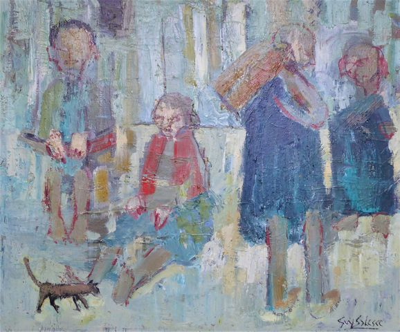 Guy SALESSE (1929) Famille au petit chien Huile sur toile SBD 53 ...
