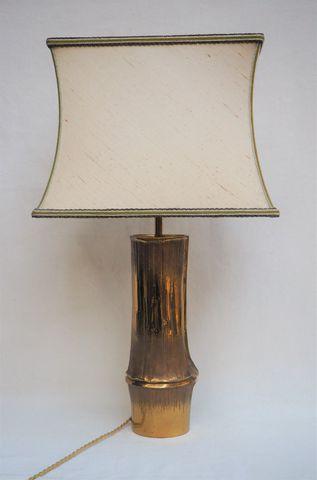 MAISON CHARLES Lampe Bambou en bronze doré, signée sur la base H....
