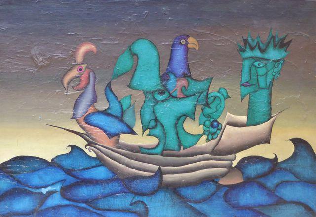 BUVILLIERS (XXe) Composition Huile sur toile signée et datée 1972...