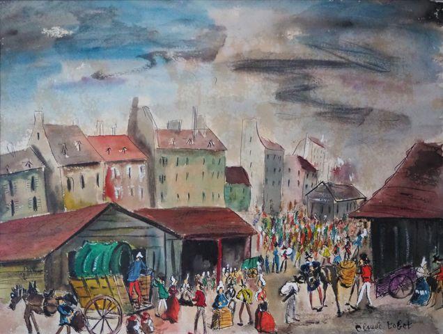 Claude TABET (1924-1979) Scène de village  Aquarelle sur papier s...