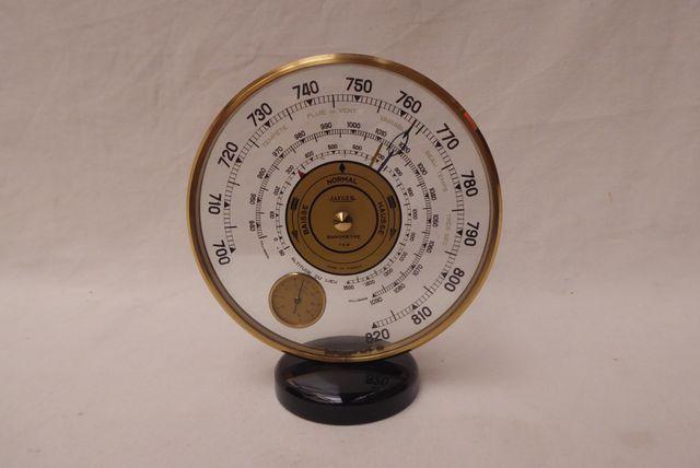 JAEGER Baromètre-thermomètre, modèle 7AB, en verre et laiton, à c...