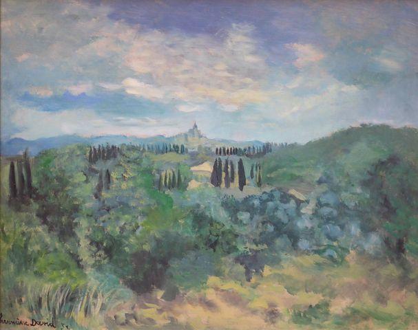 Hermine DAVID (1886-1970) Paysage Huile sur panneau signée et dat...