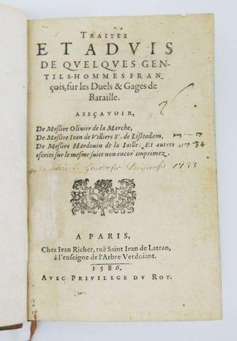 [Duels]. Traité et Advis de quelques gentils-hommes français sur ...