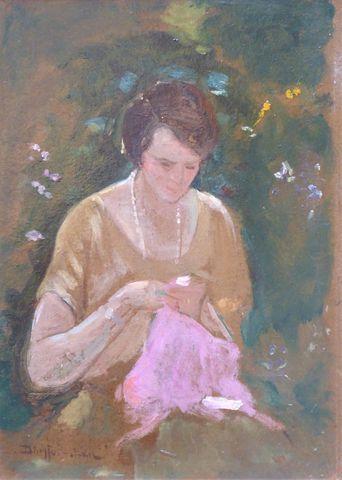 Jean DREYFUS-STERN (1890-1980) Portrait de femme Huile sur carton...