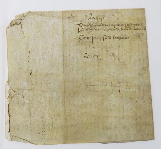Manuscrit XVe siècle. Acte de prisé pour venerables personnes Les...