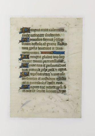 Manuscrit XVe siècle. Deux feuillets extraits d'un livre manuscri...